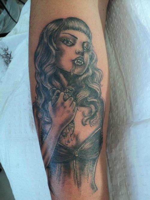 Grey Ink Vampire Girl Tattoo For Leg