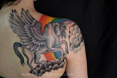 Grey Ink Winged Unicorn Tattoo For Back Shoulder