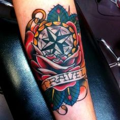 Groovy Traditional Compass Rose Tattoo