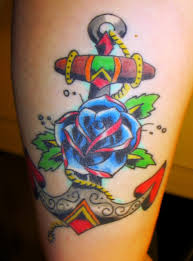 Groovy Traditional Rose Anchor Tattoos