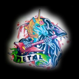 Guitarist Unicorn Tattoo