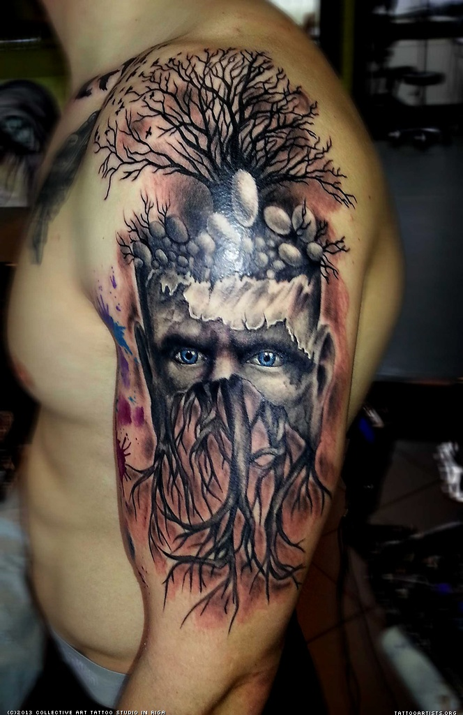 Half Sleeve Evil Face Tree Tattoo For Men