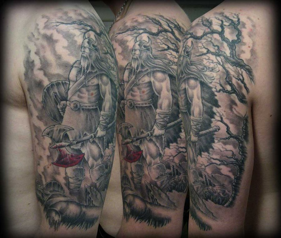 Half Sleeve Grey Ink Viking Tattoos