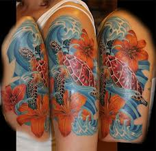 Half Sleeve Hawaiian Sea Turtle Tattoos