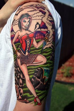 Half Sleeve Hot Vampire Girl Tattoos