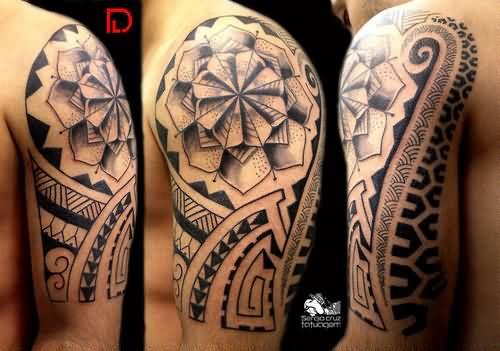 Half Sleeve Maori Tribal Tattoos For Men