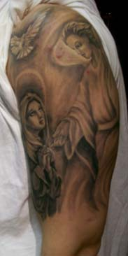 Half Sleeve Mother Mary And Angel Tattoos