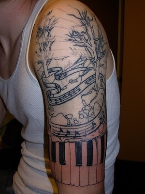 Half Sleeve Music Themed Tree Tattoos