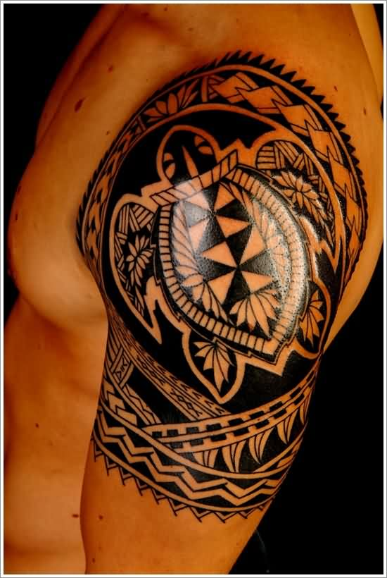 Half Sleeve Polynesian Turtle Tattoo For Men