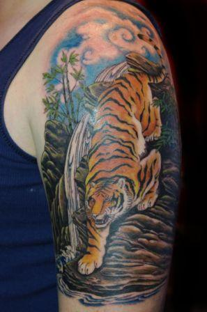 Half Sleeve Wild Tiger Tattoo