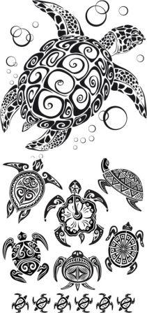 Hawaiian Tribal Turtle Tattoo Designs
