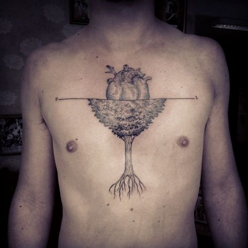 Heart And Tree Tattoos On Chest