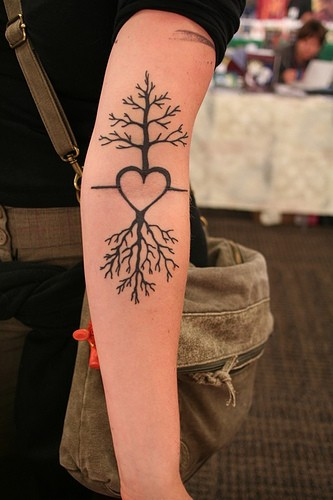 Heart Roots Tree Tattoo On Arm