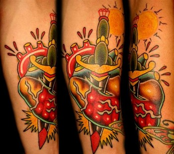 Heart Sword Traditional Sleeve Tattoos