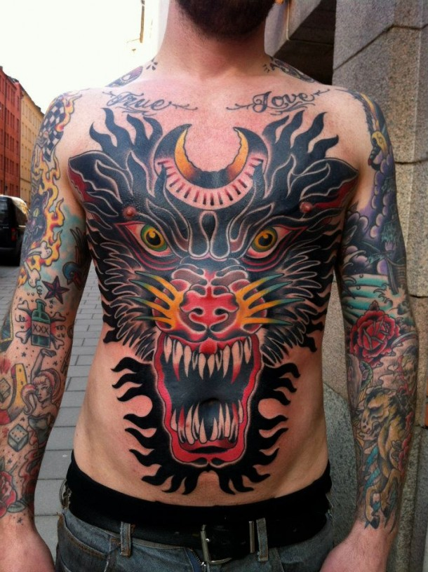 Huge Traditional Tattoo On Front Body