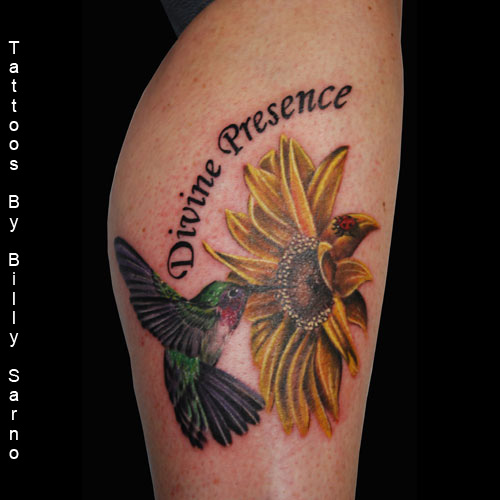 Humming Bird On Sunflower Tattoos