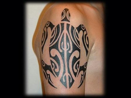 Impressive Maori Turtle Tattoo For Biceps