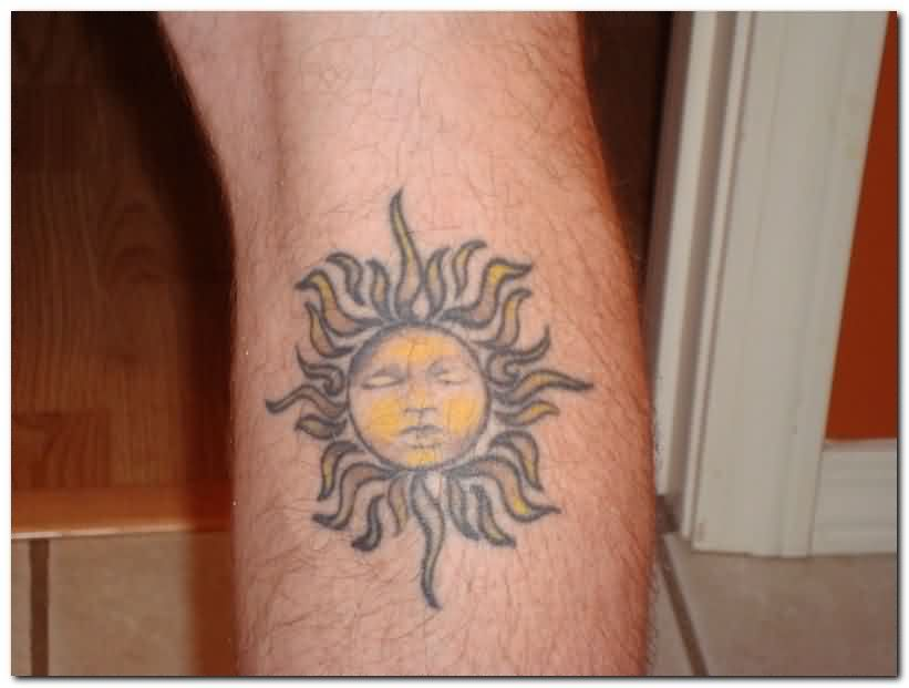 Incredible Sun Tattoo For Leg