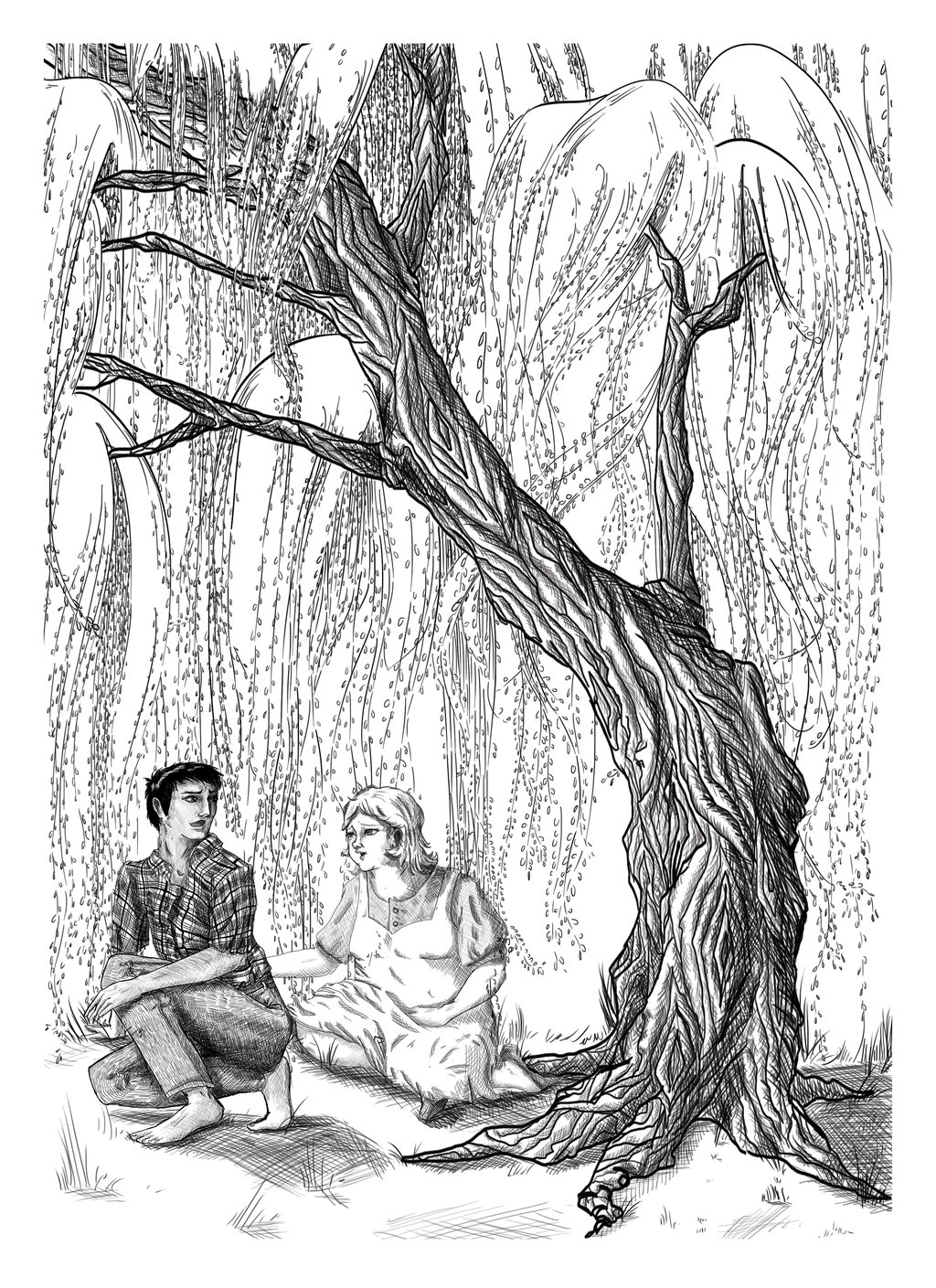 Isaac And Eileen Under The Willow Tree Tatoo Sketch