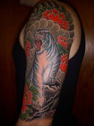 Japanese Roaring Tiger Half Sleeve Tattoos