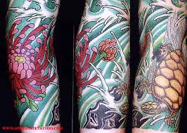 Japanese Turtle Sleeve Tattoos