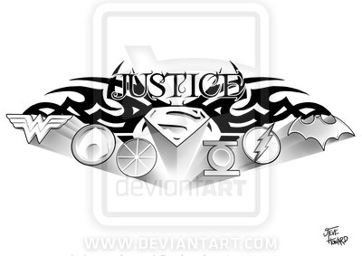 Justice Tribal And Superman Logo Tattoo Design