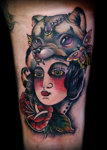 Kelly Doty Lady Head Traditional Tattoo