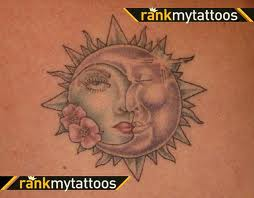 Lady Face Sun And Moon Tattoos