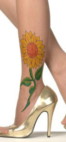 Latest Sunflower Tattoo For Girls On Outer Ankle