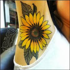 Latest Sunflower Tattoo On Armpit