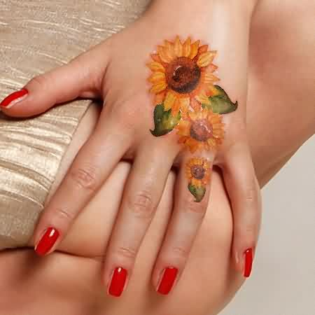 Latest Sunflower Tattoos For Hand