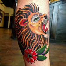 Latest Traditional Lion Tattoo For Leg