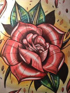 Latest Traditional Rose Tattoo Print
