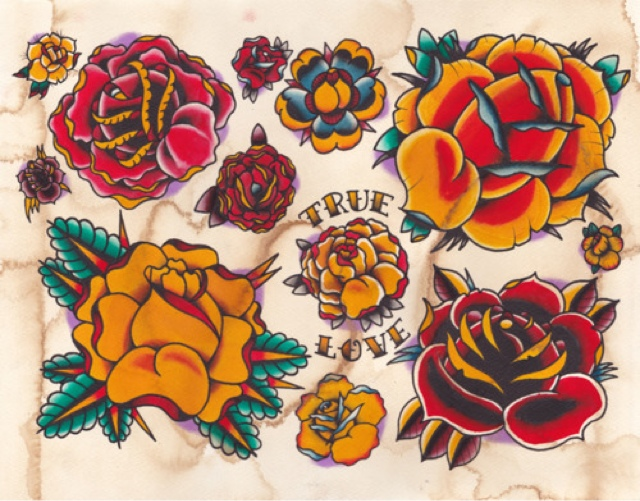 Latest Traditional Rose Tattoo Sheet