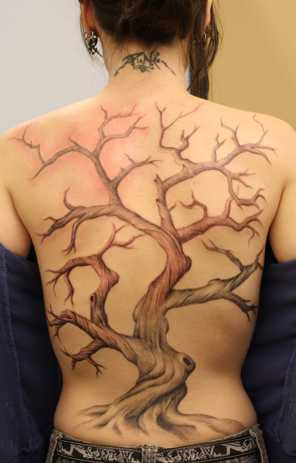 Leafless Tree Tattoos On Back Body