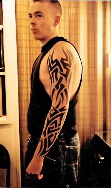 Left Full Sleeve Tribal Tattoos For Guys
