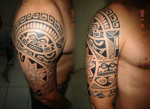 Left Half Sleeve Maori Tribal Tattoos