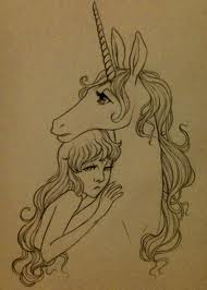 Little Sad Girl With Unicorn Tattoo Design