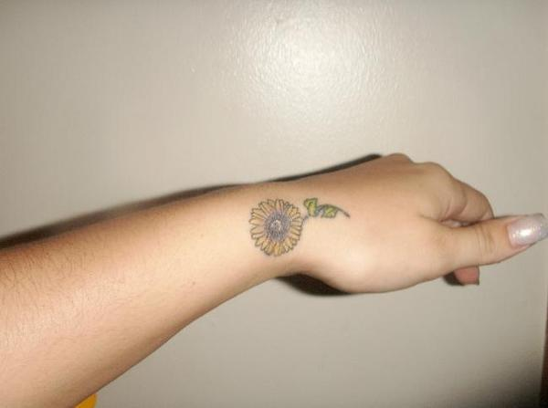 Little Sunflower Tattoo For Wrist
