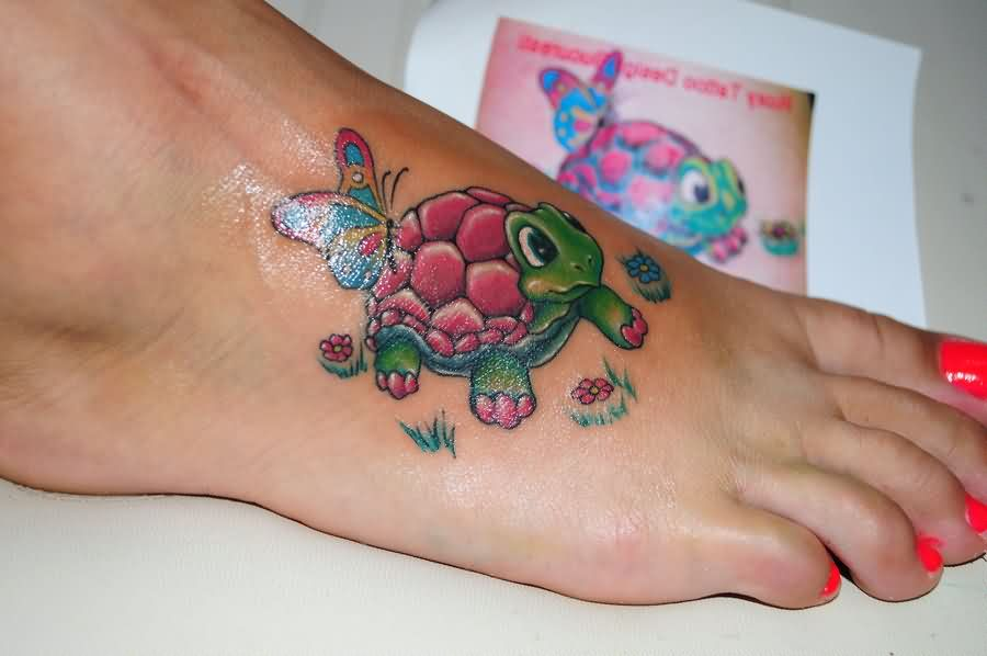 Lovely Butterfly And Turtles Tattoos On Foot