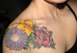 Lovely Sunflower And Roses Tattoos For Girls