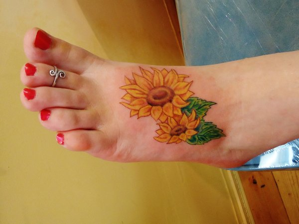Lovely Sunflower Tattoos On Left Foot