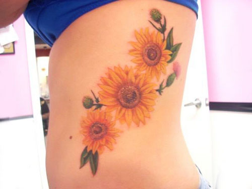 Lovely Sunflower Tattoos On Rib Side