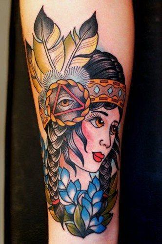 Lovely Traditional Indian Girl Tattoo