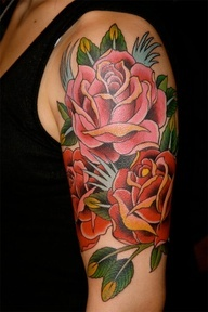 Lovely Traditional Roses Tattoos On Upper Arm