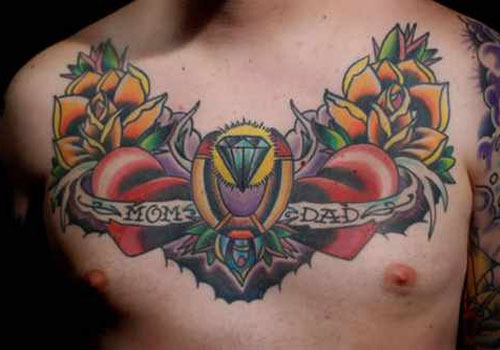 Lovely Traditional Tattoos On Chest