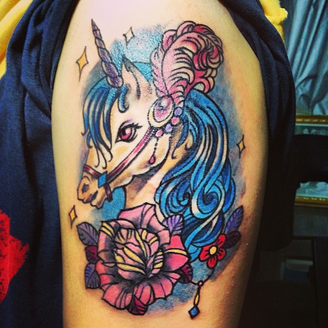 Lovely Unicorn And Flowers Tattoos On Biceps