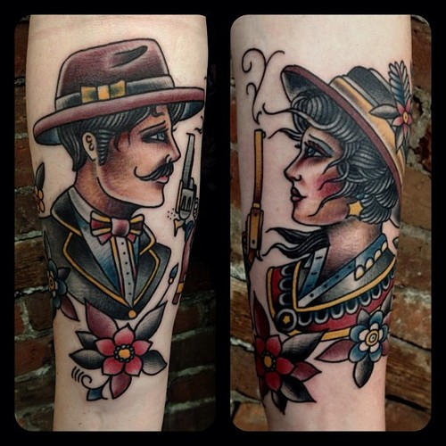Man And Woman Traditional Tattoos