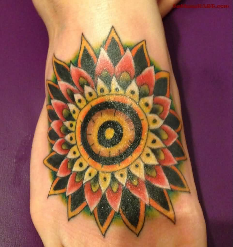 Mandala Sunflower Tattoo On Foot