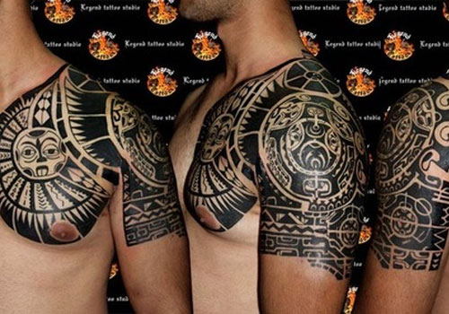 Maori Tribal Tattoos On Half Sleeve